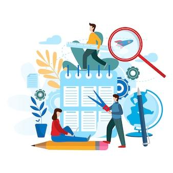 Ilustração em vetor plana conceitual projeto de trabalho em equipe.