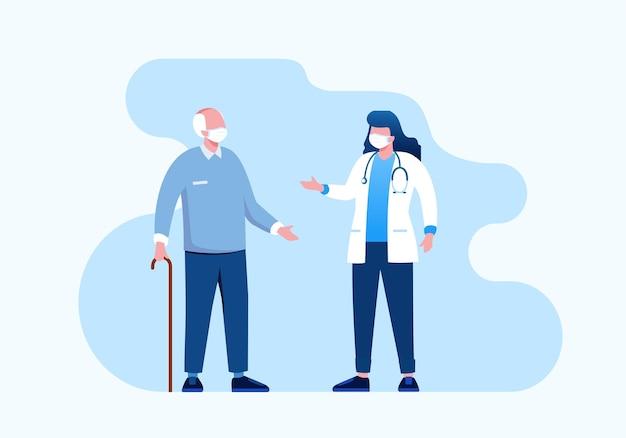 Ilustração em vetor plana consulta médica para banner