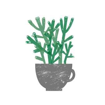 Ilustração em vetor plana crassula hobbit planta de casa. planta suculenta em vaso de cerâmica da moda, isolado no fundo branco. elemento de decoração de casa botânica perene. vegetação decorativa doméstica.
