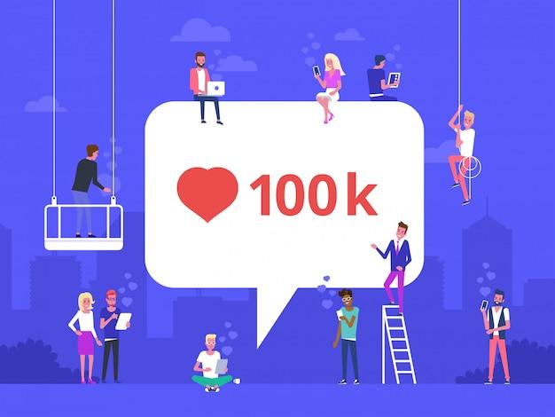 Ilustração em vetor plana da bolha de mídia social com o símbolo do coração vermelho.