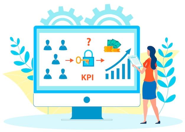 Ilustração em vetor plana de análise de kpi de funcionários