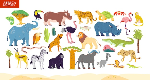 Ilustração em vetor plana de animais da áfrica, deserto, plantas: elefante, rinoceronte, macaco, zebra, crocodilo, flamingo, tartaruga, palmeira, cacto etc. para o alfabeto infantil, infográficos, livro, banner, etiqueta.