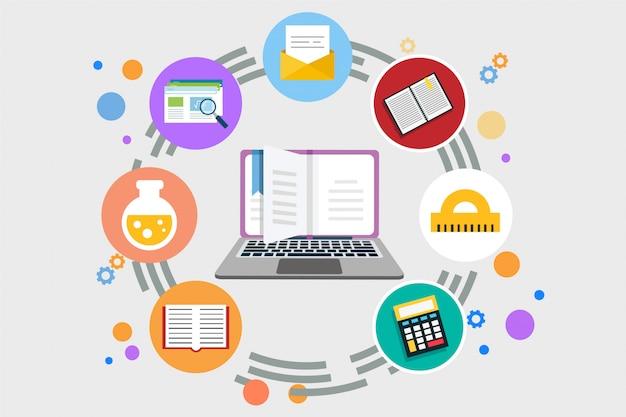 Ilustração em vetor plana de aprendizagem on-line