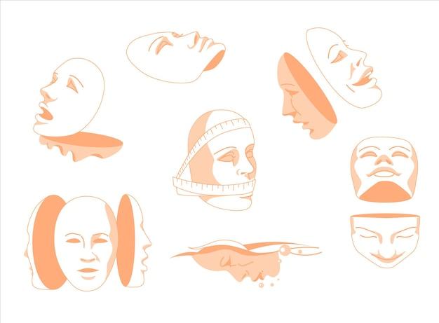 Ilustração em vetor plana de aviões máscaras humanas com emoções simbolizam o humor humano. psicologia.