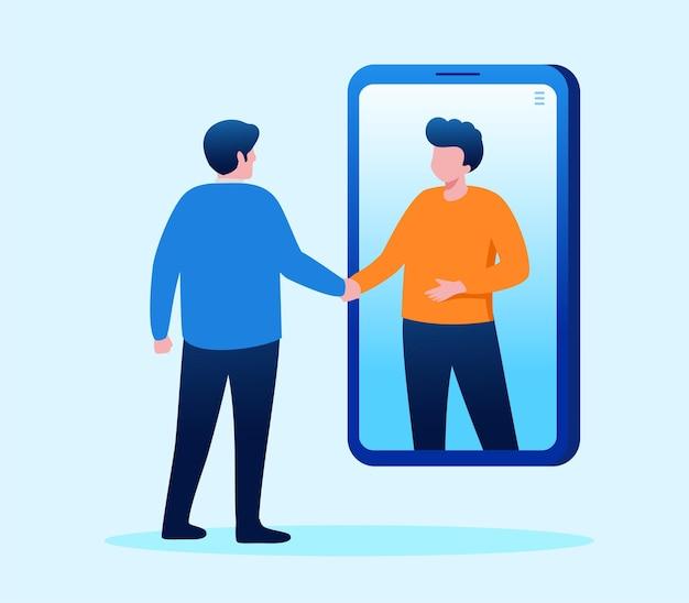 Ilustração em vetor plana de conceito de reunião on-line ou videoconferência para página de destino de banner