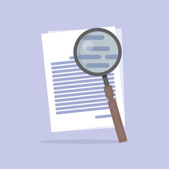 Ilustração em vetor plana de documento ícone de pesquisa isolado