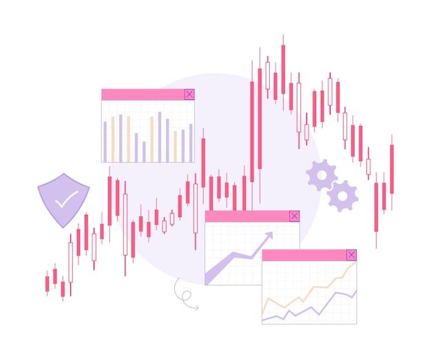 Ilustração em vetor plana de gráfico comercial