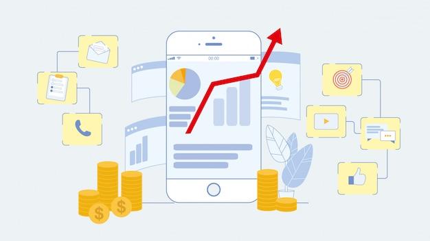 Ilustração em vetor plana de marketing on-line