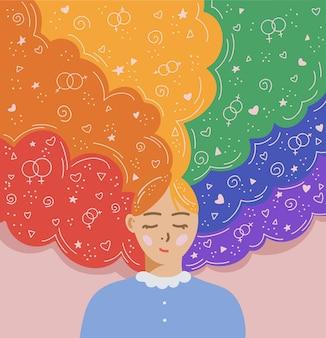 Ilustração em vetor plana de pessoa lgbt com conceito de mês do orgulho lgbt de cabelo da cor do arco-íris