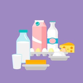 Ilustração em vetor plana de produtos lácteos