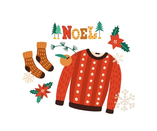 Ilustração em vetor plana de roupas de inverno