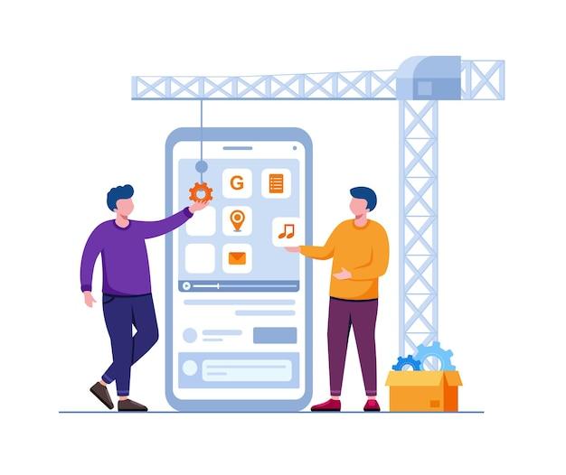 Ilustração em vetor plana de tecnologia de programação de desenvolvedor de aplicativos móveis