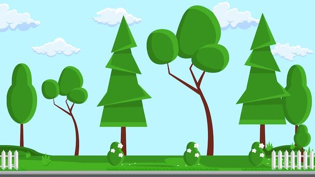 Ilustração em vetor plana design de paisagem. árvore.