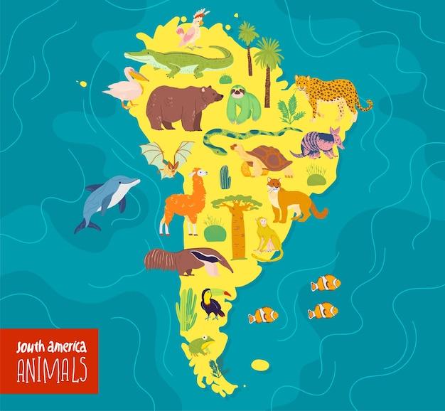 Ilustração em vetor plana do continente da américa do sul, animais, plantas, crocodilo, urso, anaconda