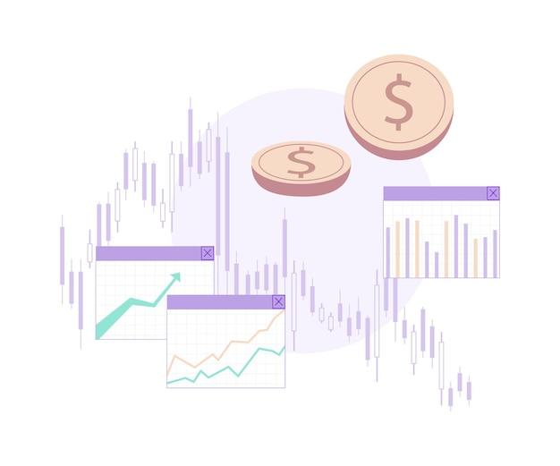 Ilustração em vetor plana do curso de dólar