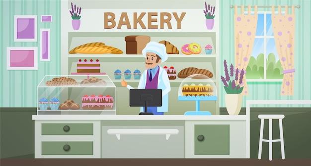Ilustração em vetor plana dos desenhos animados de loja de padaria.