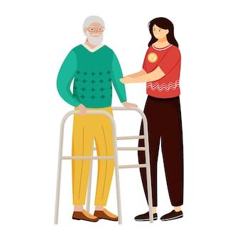 Ilustração em vetor plana enfermagem idosos.
