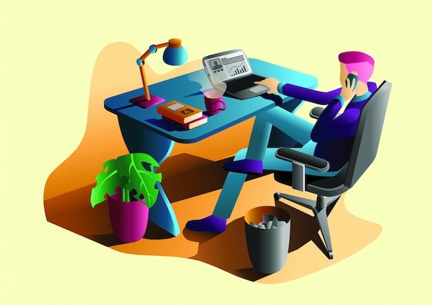 Ilustração em vetor plana escritório