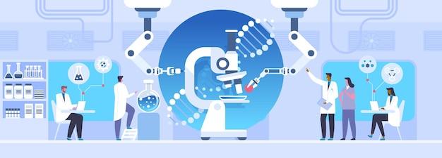 Ilustração em vetor plana estudo de laboratório. cientistas fazendo experimentos de pesquisa com personagens de desenhos animados. nanotecnologia, conceito de ciência da microbiologia. inovação médica, engenharia genética