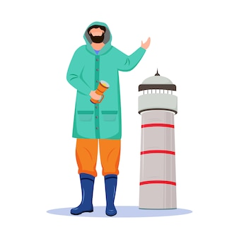 Ilustração em vetor plana farol farol. ocupação marítima. marinheiro em capa de chuva com personagem de desenho animado isolado lanterna