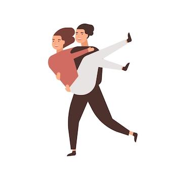 Ilustração em vetor plana feliz relacionamento romântico. namorados alegres, casal se divertindo. namorado de desenho animado carregando namorada em personagens de desenhos animados de braços. caso de amor de adolescentes despreocupados.