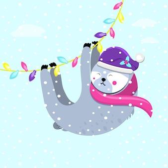 Ilustração em vetor plana fofa preguiça com chapéu de papai noel pendurado na guirlanda festiva