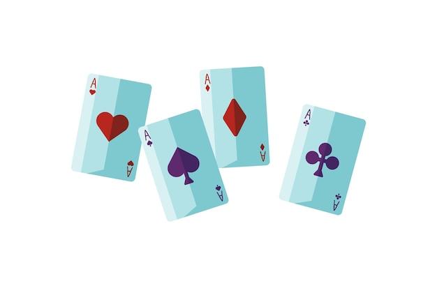 Ilustração em vetor plana fortuna dizendo cartões. atributo de adivinho. cartomancia, adivinhação, sortilégio, conceito de leitura de cartas. parte do baralho de cartas, quatro ases isolados no fundo branco.