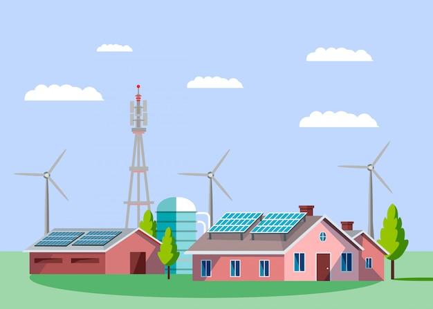 Ilustração em vetor plana inteligente hi-tech village