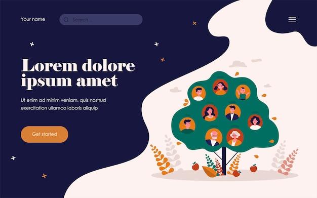 Ilustração em vetor plana isolada de herança genealógica de pessoas. esquema de conexão de parentes abstrato dos desenhos animados em forma de árvore. conceito de ancestralidade e história da família
