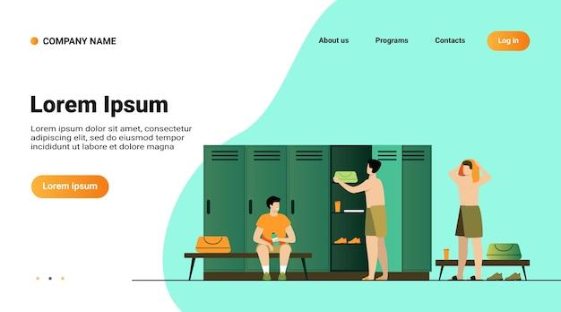 Ilustração em vetor plana isolada vestiário escolar. desenhos animados de futebol ou time de futebol trocando de roupa após o treino