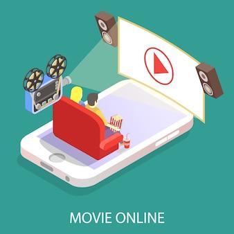 Ilustração em vetor plana isométrica de filme on-line