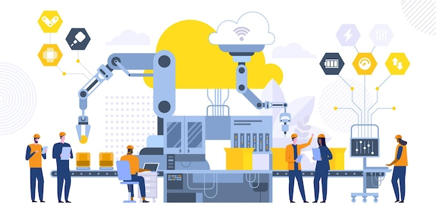 Ilustração em vetor plana linha montagem automatizada. trabalhadores de fábrica futuristas, personagens de desenhos animados de computador de engenheiros. acompanhamento do processo de fabricação. equipamento de alta tecnologia, maquinário moderno