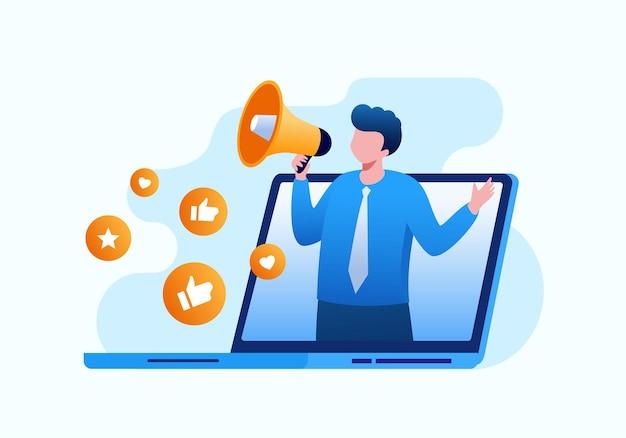Ilustração em vetor plana marketing de mídia social para banner