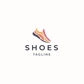 Ilustração em vetor plana modelo de design de ícone de logotipo de sapatos