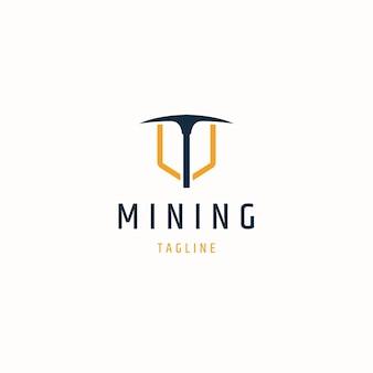 Ilustração em vetor plana modelo de ícone de logotipo de mineração de picareta