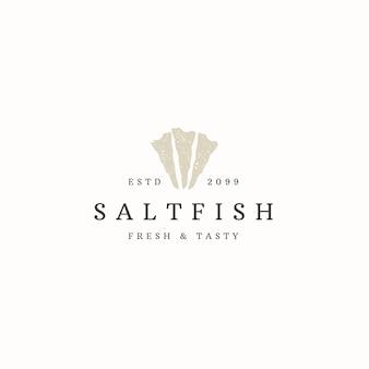 Ilustração em vetor plana modelo de ícone de logotipo de peixe salgado