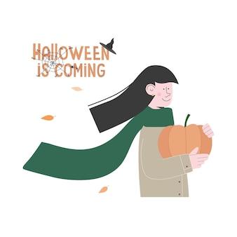 Ilustração em vetor plana outono com a garota que está trazendo a abóbora. letras elegantes halloween está chegando.