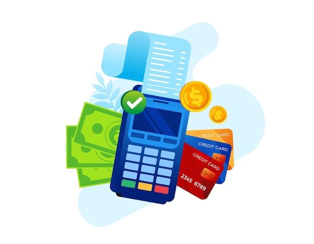 Ilustração em vetor plana pagamento com cartão de crédito para banner