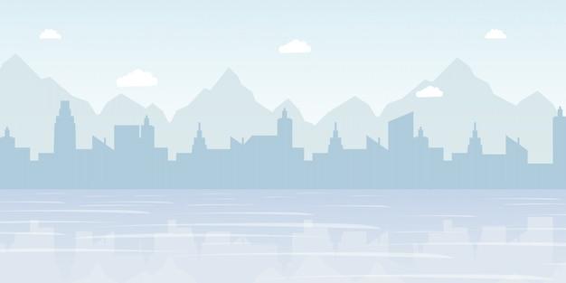 Ilustração em vetor plana paisagem urbana nevoenta panorama