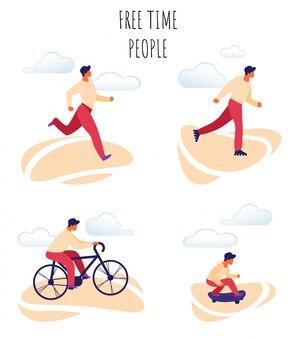 Ilustração em vetor plana pessoas felizes de tempo livre.