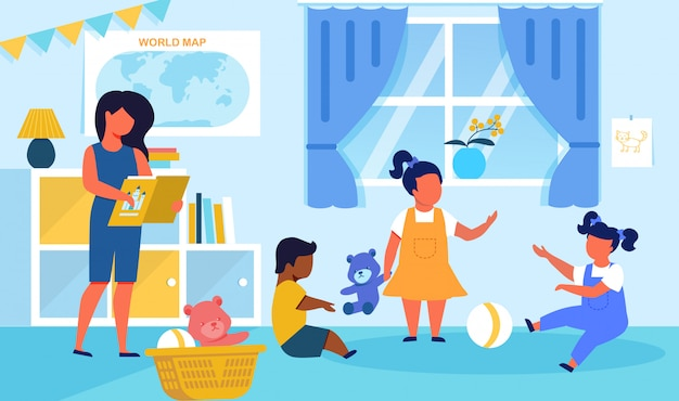Ilustração em vetor plana playschool alunos pastime