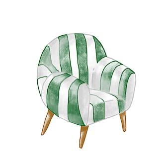 Ilustração em vetor plana poltrona vintage. cadeira retro elegante isolada no fundo branco. elemento de móvel estofado com cortina às riscas. assento confortável. item de interior para casa.