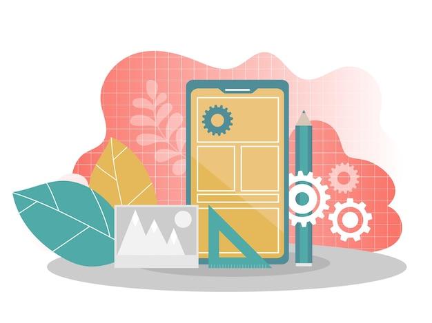 Ilustração em vetor plana processo de desenvolvimento de aplicativos móveis. fundo de prototipagem e teste de api de software. processo de construção de interface de smartphone, conceito de construção de aplicativo móvel.