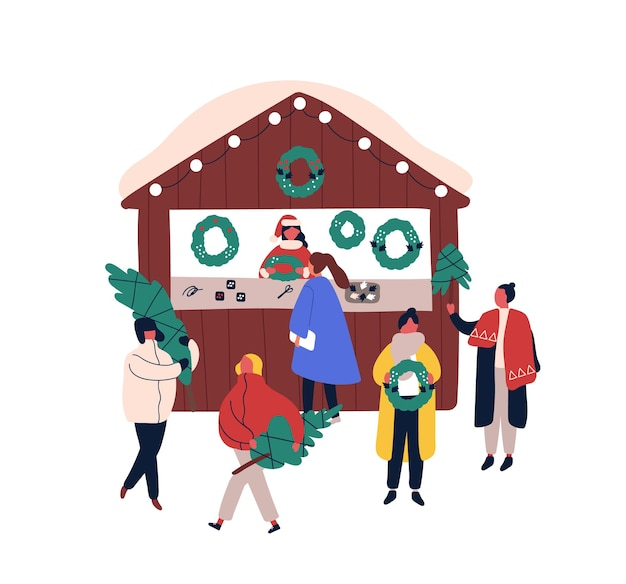 Ilustração em vetor plana quiosque de decorações de natal. personagens de desenhos animados de vendedora e clientes. feira de natal, elemento de design de mercado de rua sazonal. pessoas comprando pinheiros e coroas de flores festivas.
