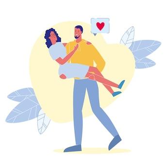 Ilustração em vetor plana relacionamento apaixonado
