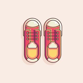 Ilustração em vetor plana sapatos