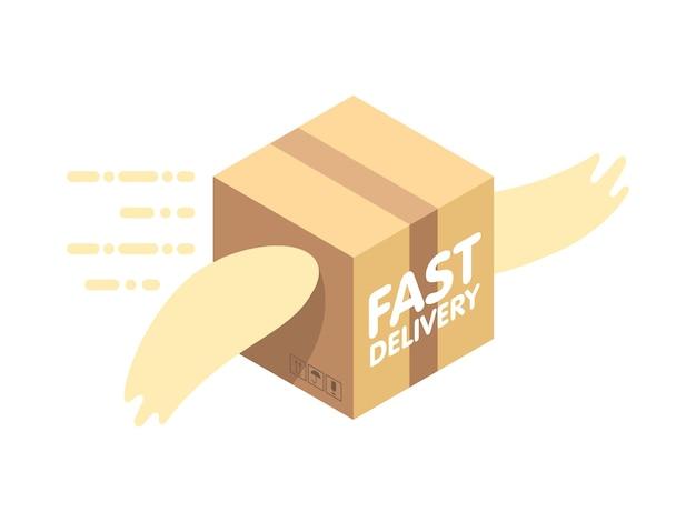 Ilustração em vetor plana serviço de entrega rápida. pacote com asas voa no céu entre as nuvens.