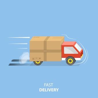 Ilustração em vetor plana serviço de entrega rápida.