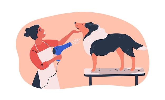 Ilustração em vetor plana serviço de tosa de cães