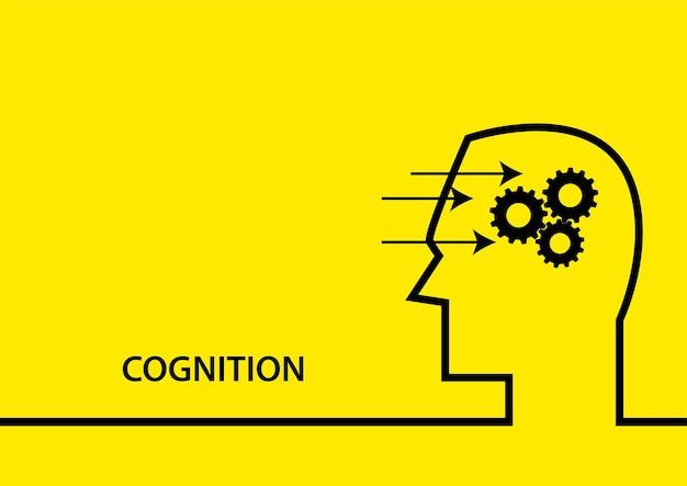 Ilustração em vetor plana simples do símbolo de cognição